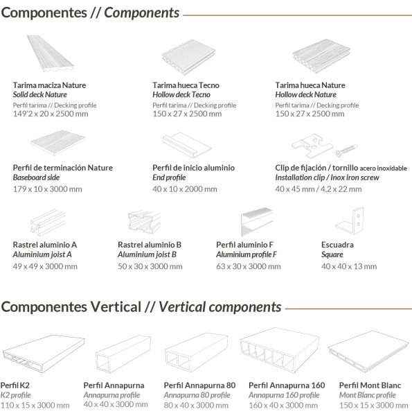 componentes tarima de exterior tecnologica tarimatec