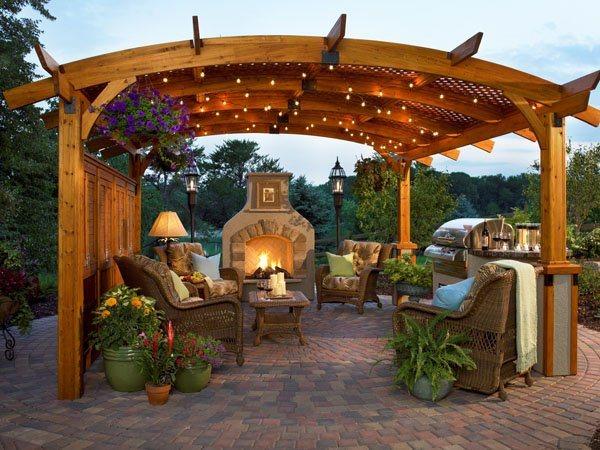 cenador madera techo curvado - Cenadores De Jardin